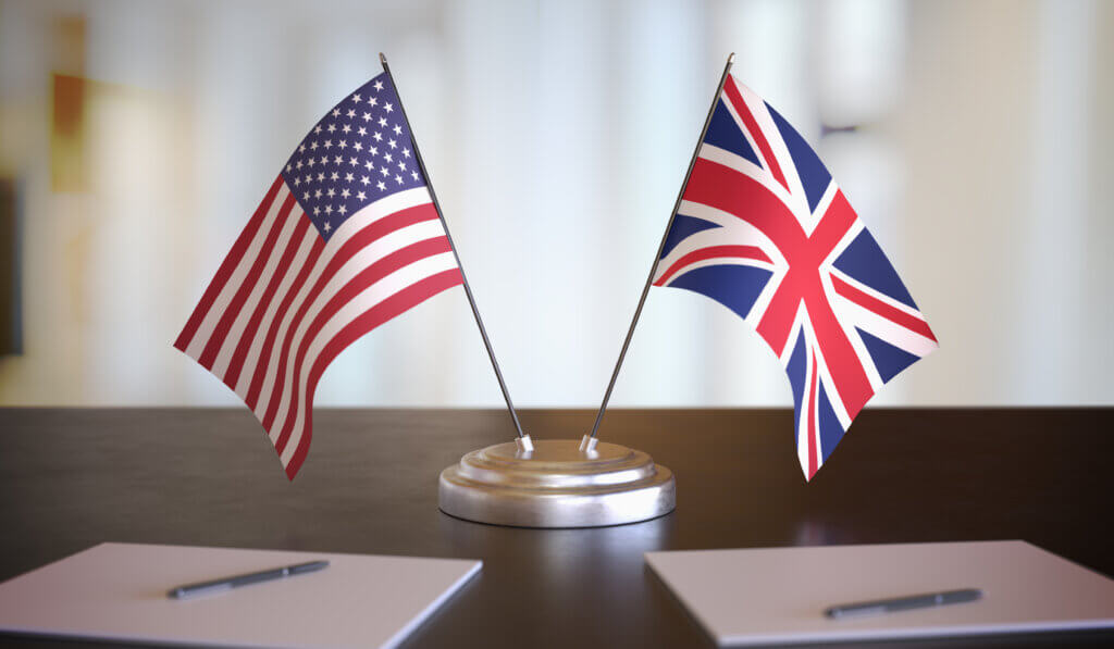 US and UK Flags on a table