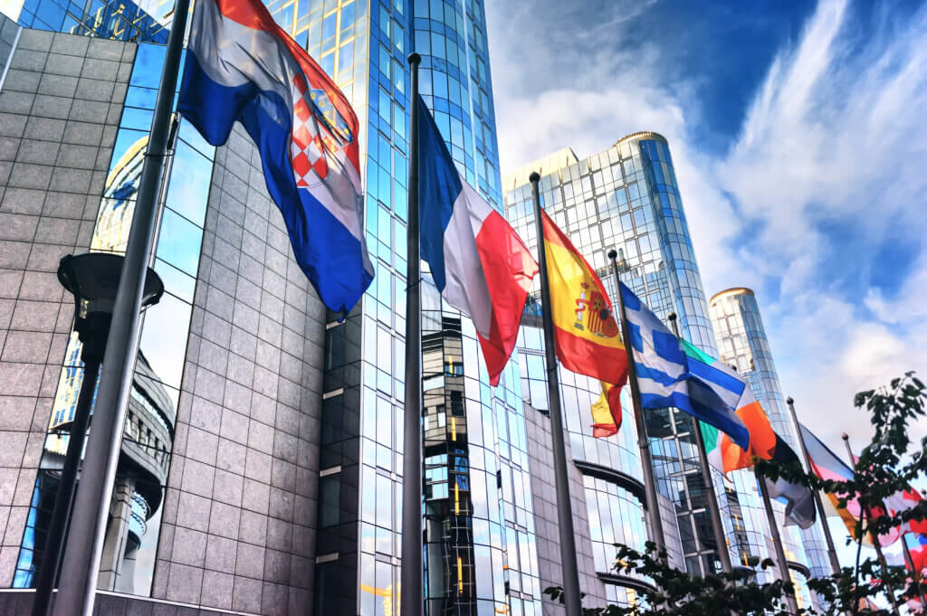 Flags in front of EU Parliament, Brussels